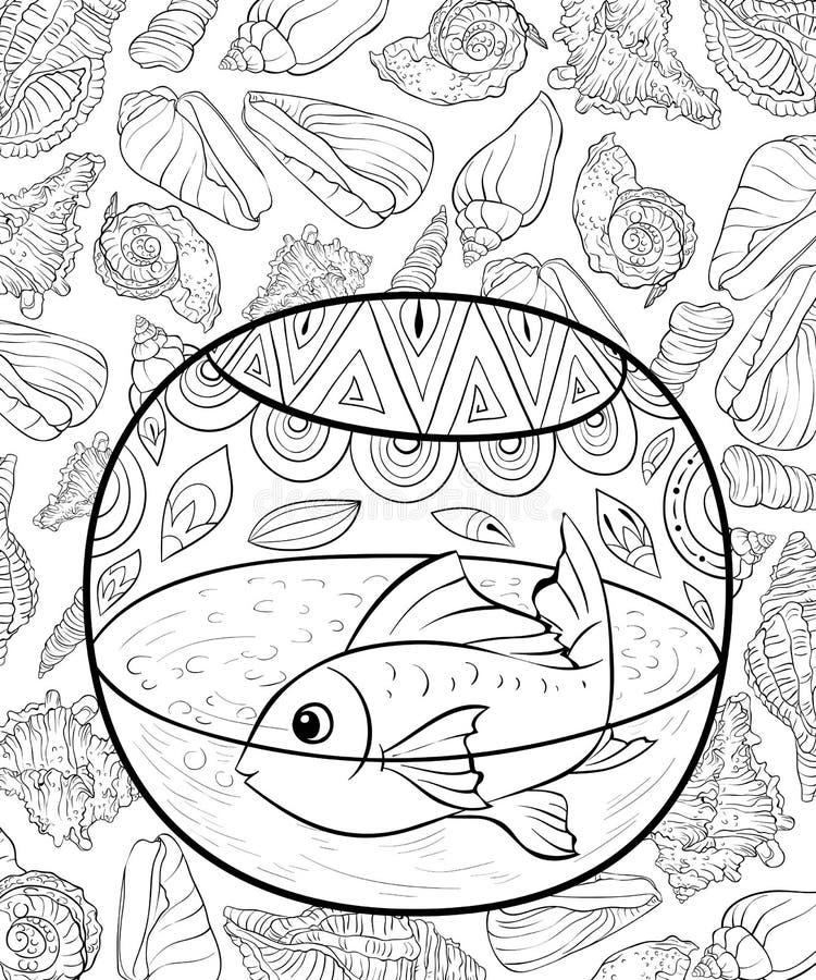 成人彩图,呼叫在一个水族馆的一条逗人喜爱的鱼在与壳的背景 库存例证