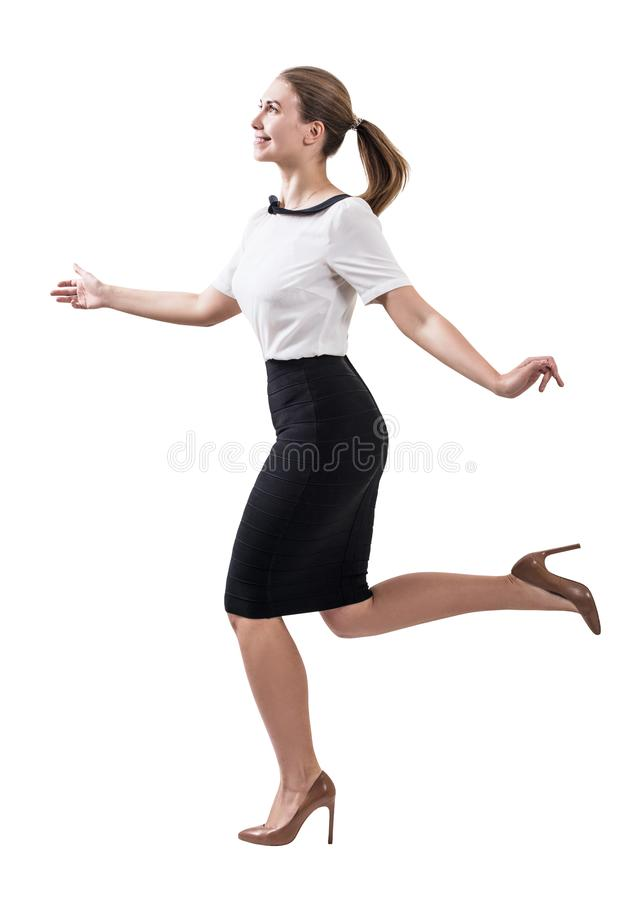 成人微笑的女商人赛跑 免版税库存照片