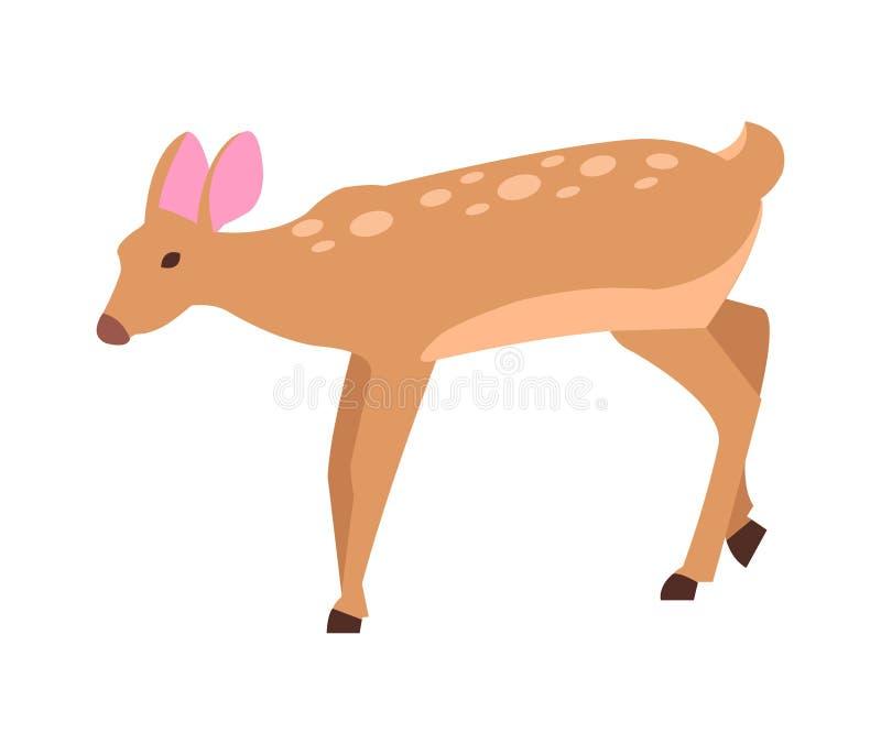 成人母鹿在动画片样式象的被隔绝的传染媒介 向量例证