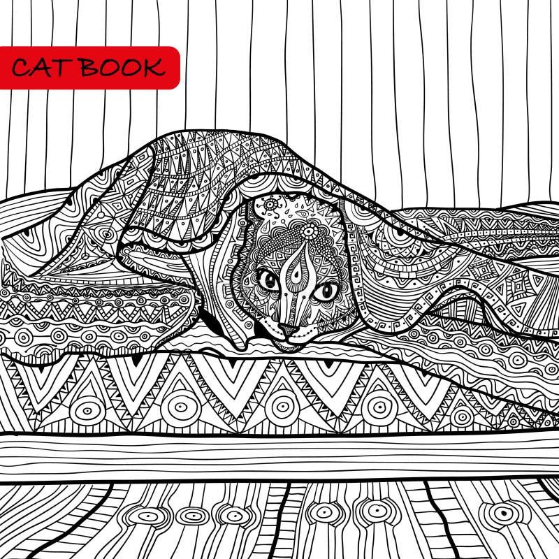 成人的彩图- zentangle猫书,在床上的猫 免版税图库摄影