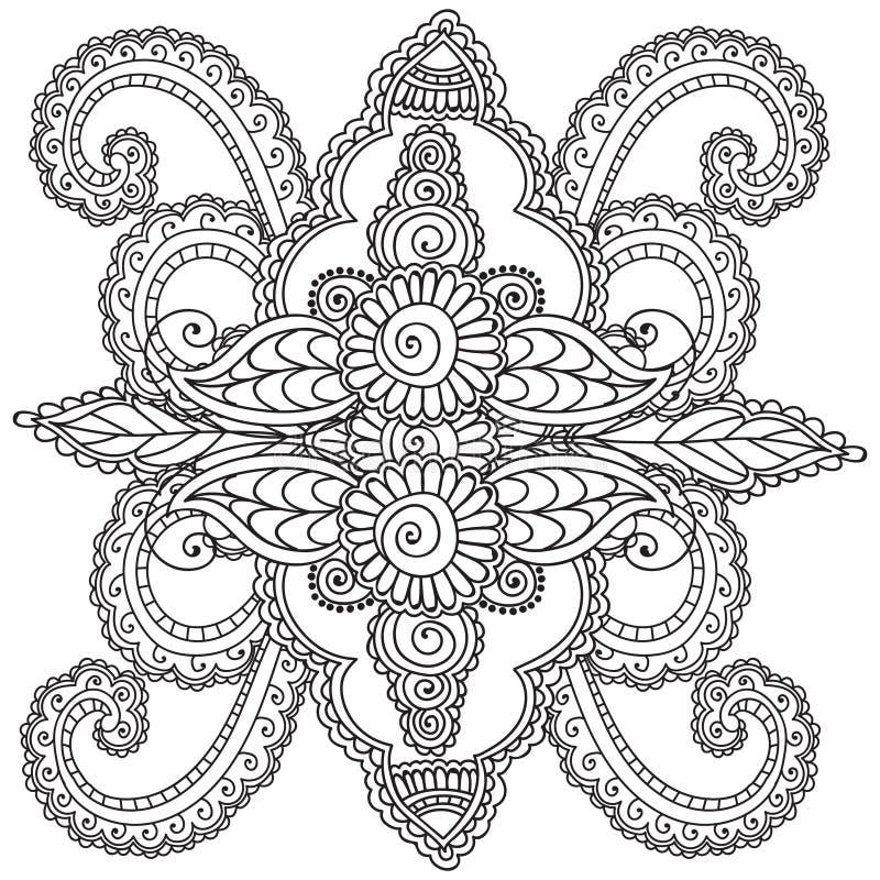成人的着色页 无刺指甲花Mehndi乱画抽象花卉元素 库存例证