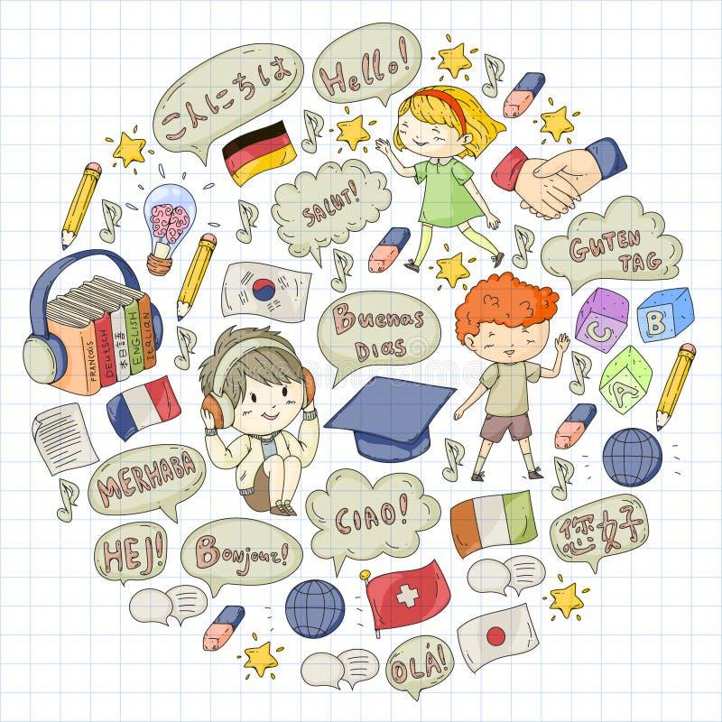 成人的,孩子语言学校 儿童路线 英语,意大利语,西班牙语,日语,汉语,阿拉伯,德语 作用 皇族释放例证