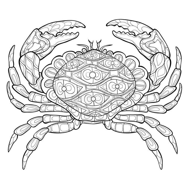 成人着色页,预定放松的一个螃蟹图象 皇族释放例证