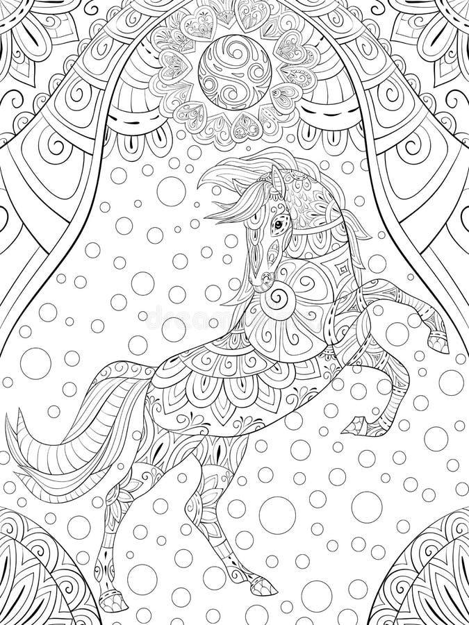 成人着色页,预定放松的,禅宗艺术样式例证一匹逗人喜爱的马 皇族释放例证