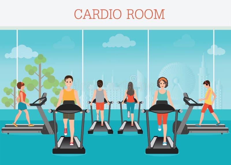 年轻成人跑在健身房内部的踏车的男人和妇女 向量例证