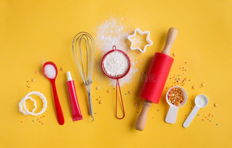 成份和工具为烘烤 图库摄影