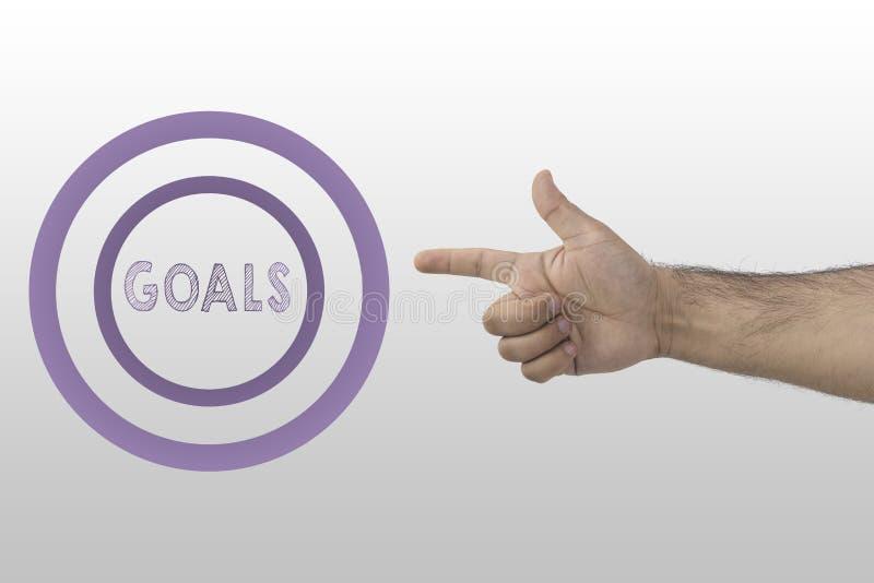 成功和成就 商人射击文本的` s手入圈子:目标 免版税库存图片