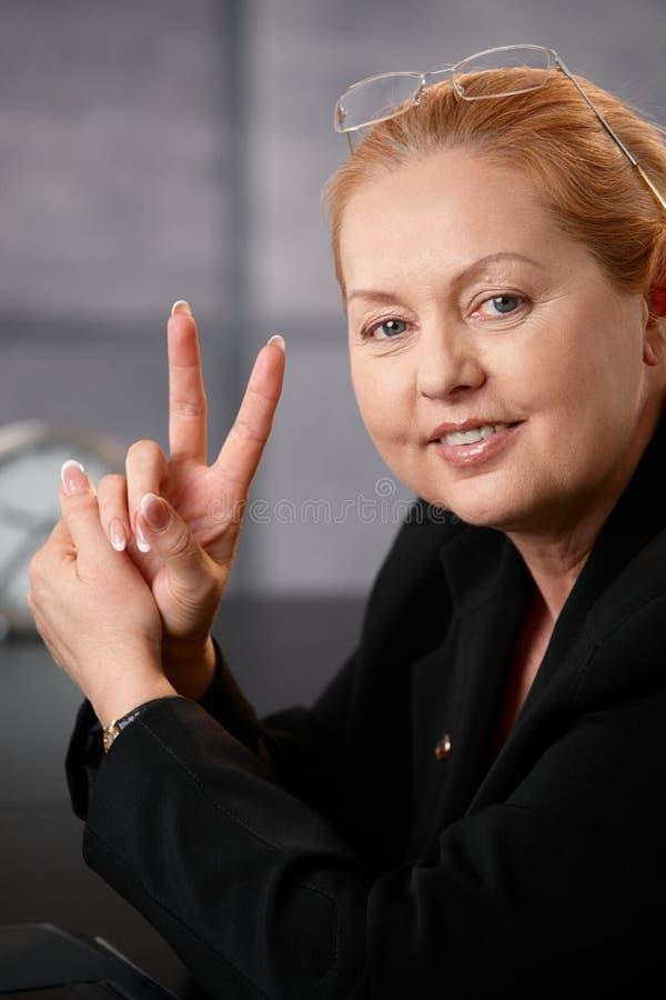 成功女实业家的纵向 免版税库存照片