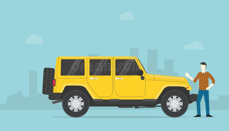成功有钱人或成功的商人与勒克斯汽车和城市作为背景与现代平的样式-传染媒介 皇族释放例证