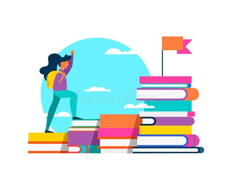 成功概念的女孩上升的教科书 皇族释放例证