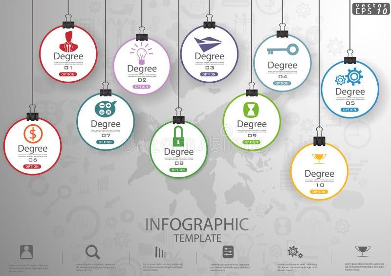 成功现代设计想法和概念传染媒介例证Infographic模板的企业象垂悬的选择与百分之 库存例证