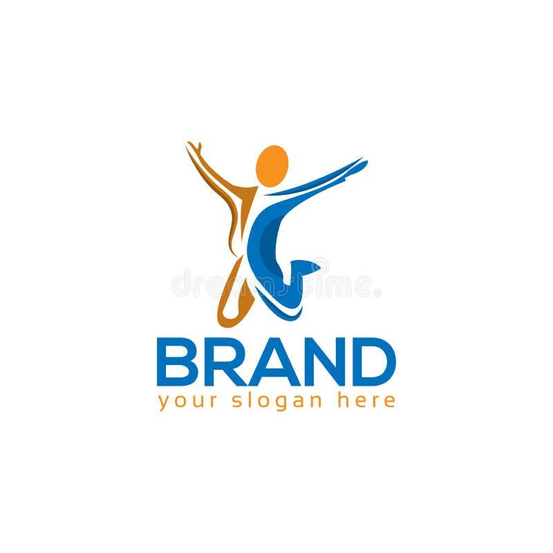 成功的人商标模板,五颜六色的人民 库存例证