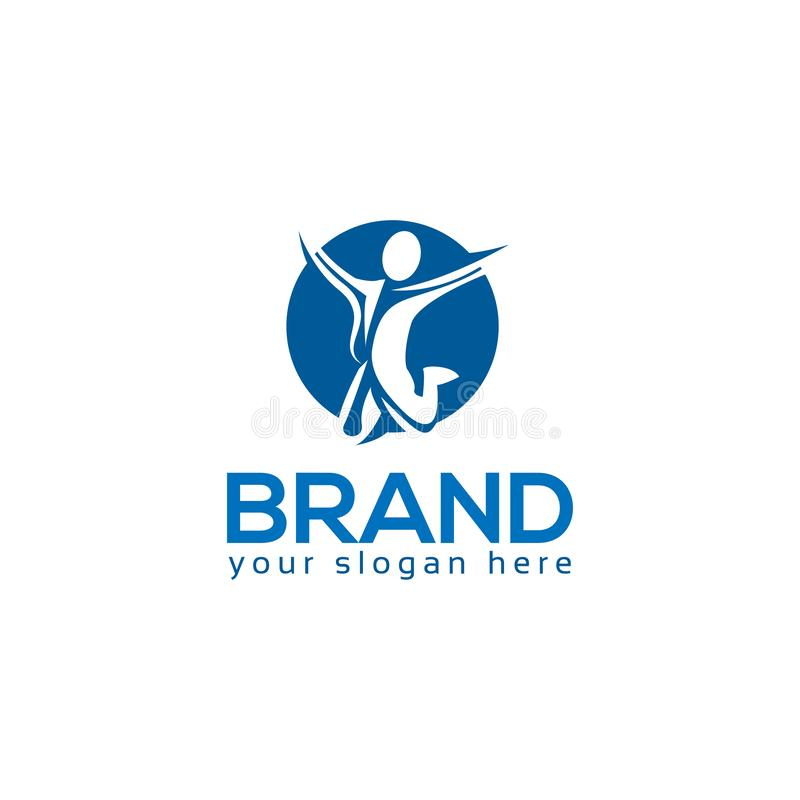 成功的人商标模板,五颜六色的人民 向量例证