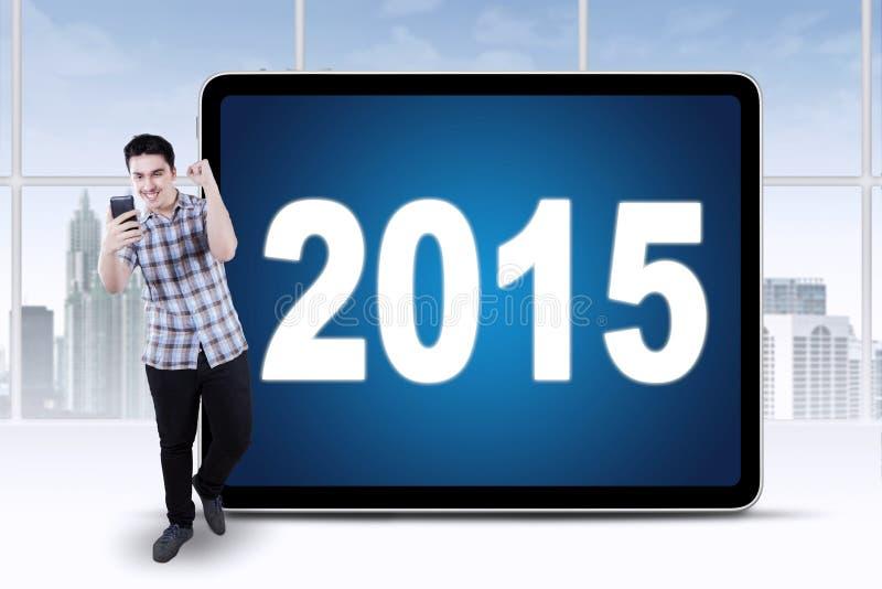 成功的人得到与第的一个好消息2015年 库存照片