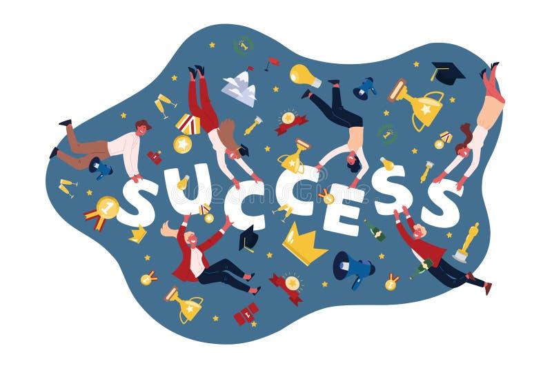 成功的人民,有战利品的,杯子,金黄奖牌,获得奖,学生的演员运动员得到文凭 向量例证