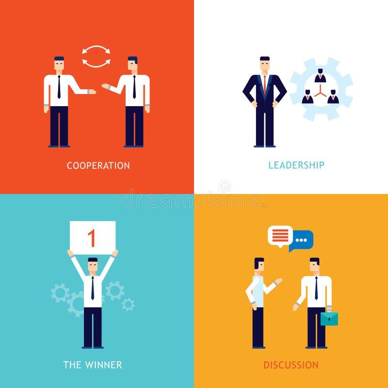 成功的企业优胜者配合合作合作领导平的设计横幅 向量例证