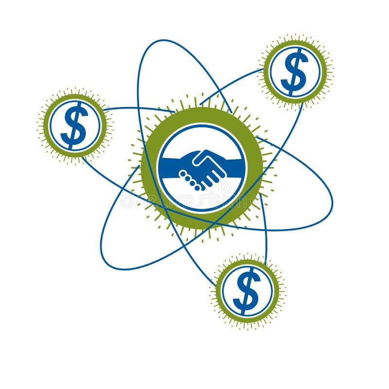 成功的企业创造性的商标,握手标志,传染媒介概念性标志隔绝在白色背景 向量例证