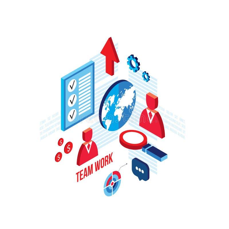 成功的企业概念团队工作和合作3d等量平的设计 库存例证