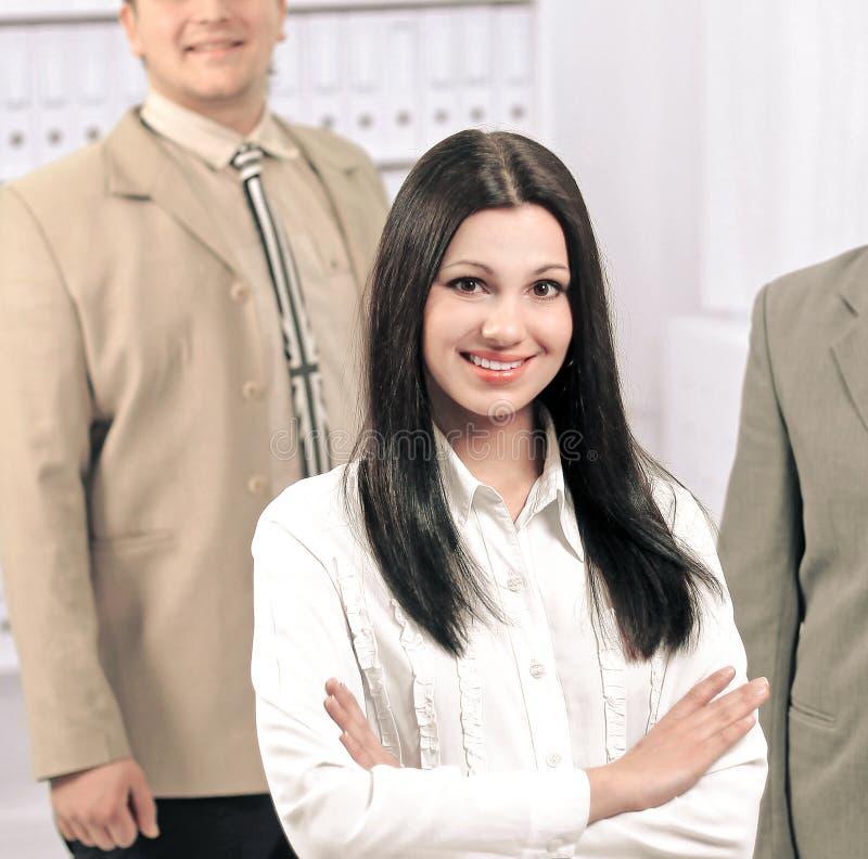 成功的企业队画象在o的背景中 免版税图库摄影