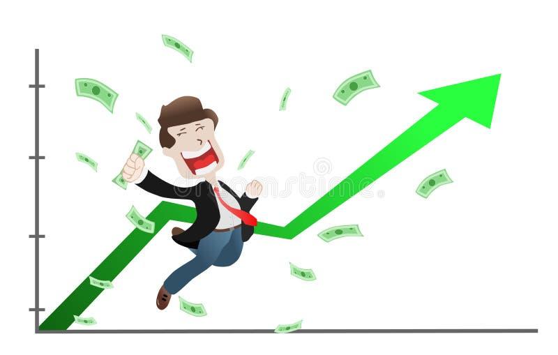成功的商人举了在起义箭头图表图,股票行市的手,增量 库存例证