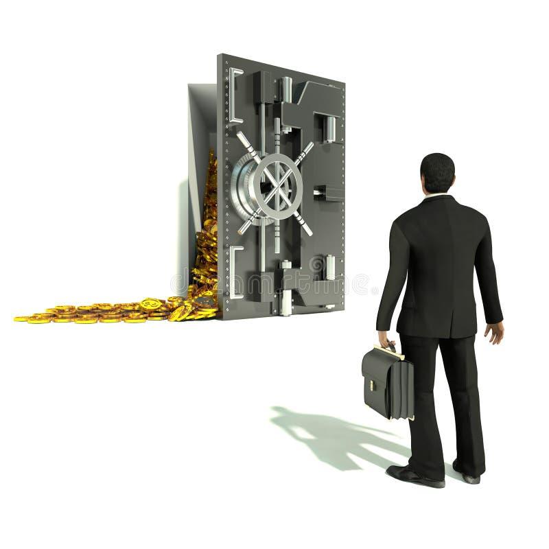 成功的商人和堆美元金币 安全 向量例证