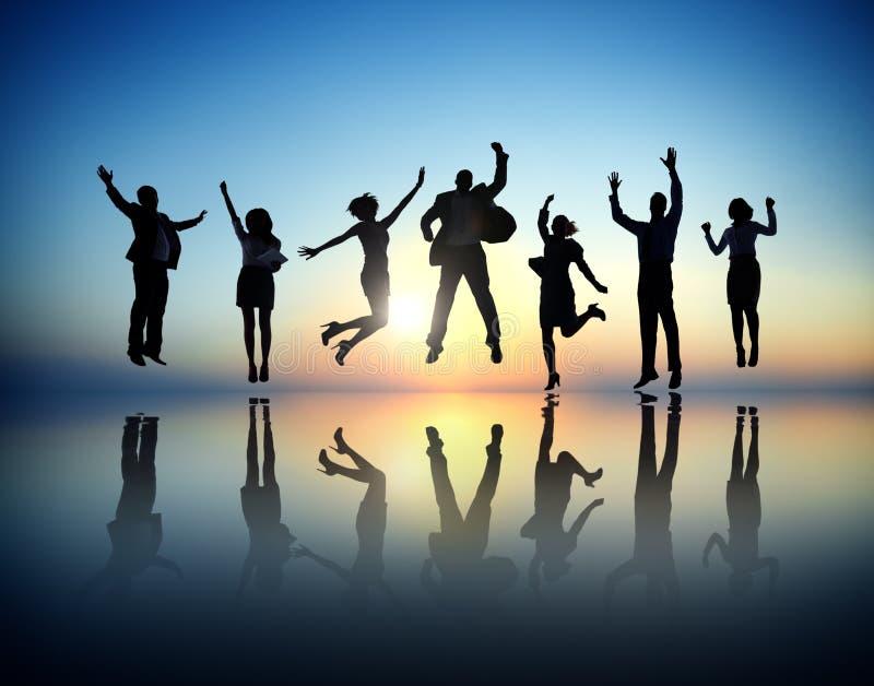 成功的商人和庆祝 免版税库存图片