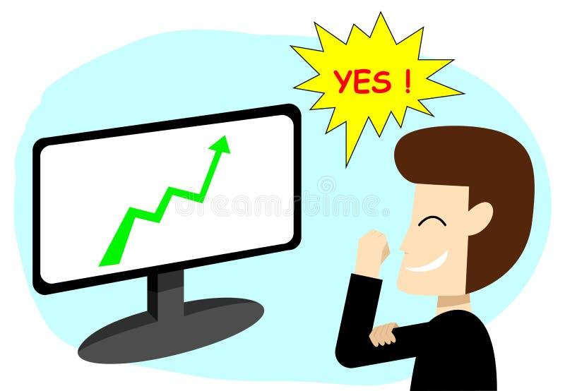 成功的商人在股市,传染媒介艺术上 库存例证
