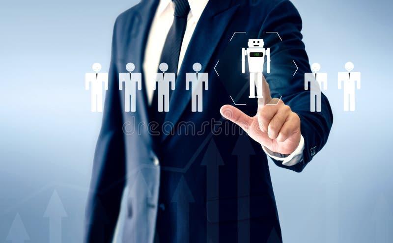 成功的商人手接触真正机器人AI代表人的工作的一个替补 库存图片