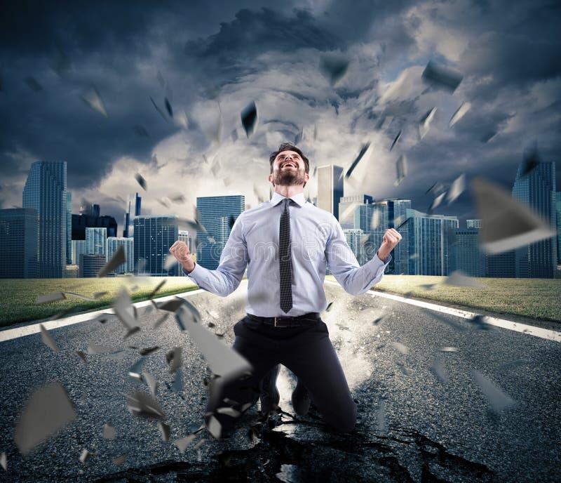 成功的商人的力量 决心的概念 免版税库存照片
