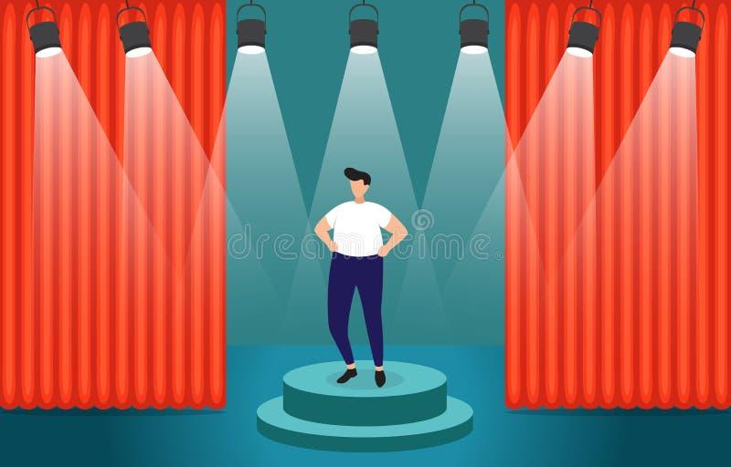 成功的商人确信在指挥台在聚光灯企业概念例证下 皇族释放例证