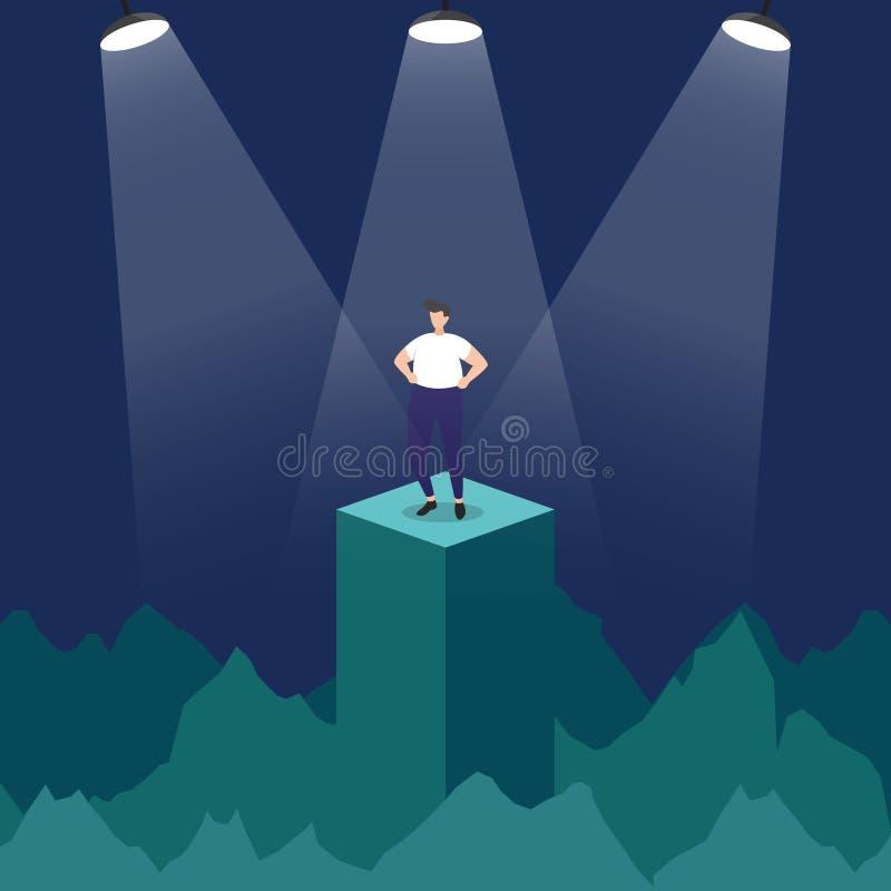 成功的商人确信在指挥台在聚光灯企业概念例证下 库存例证