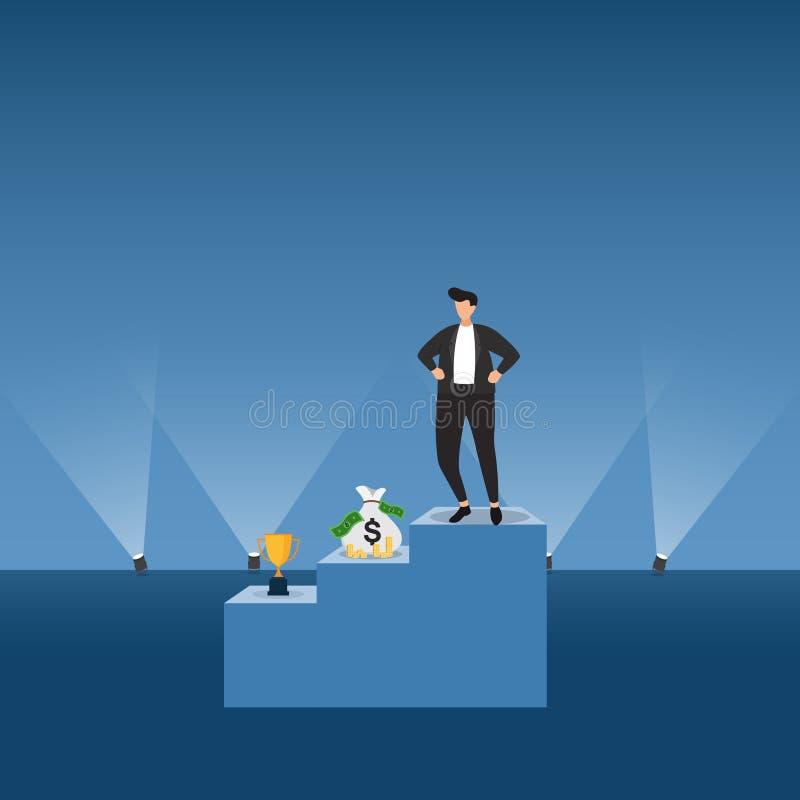 成功的商人确信在指挥台在聚光灯企业概念例证下 向量例证