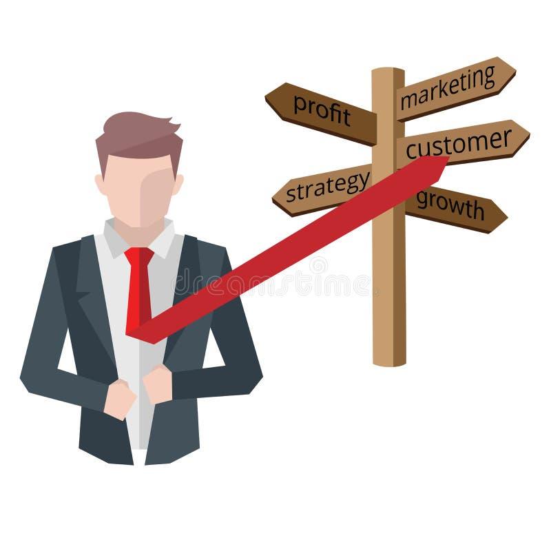 成功的商人,经济情况概念 工作在办公室、欲望成功,配合和管理 库存例证