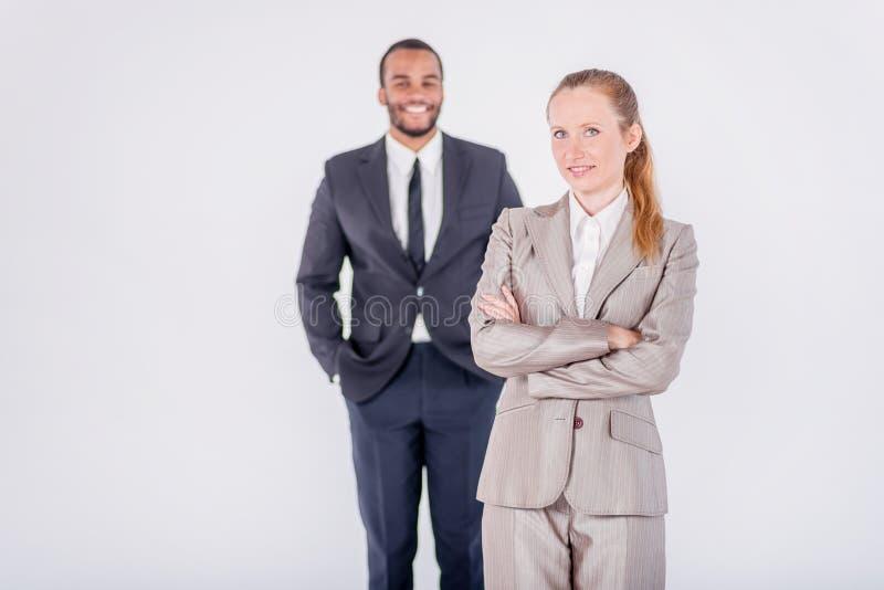 成功的商人 两确信和成功的busines 免版税库存照片
