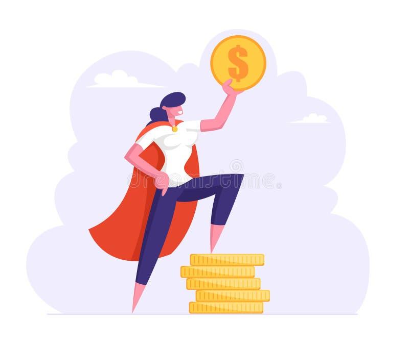 成功的女商人以特级英雄斗篷举行金黄美元,在堆金币,富有的女实业家的立场 库存例证