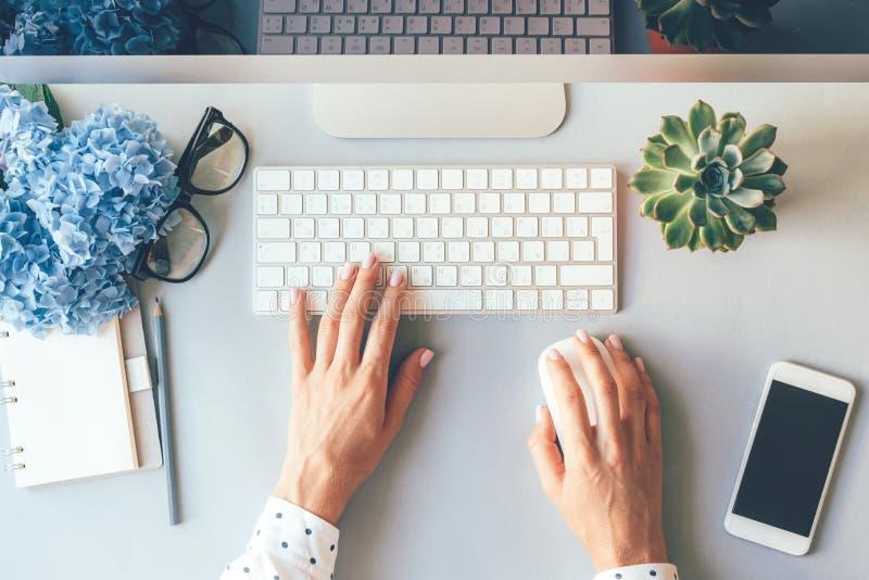 成功的工作的,在计算机键盘的典雅的女性手工作场所在办公室 免版税库存图片