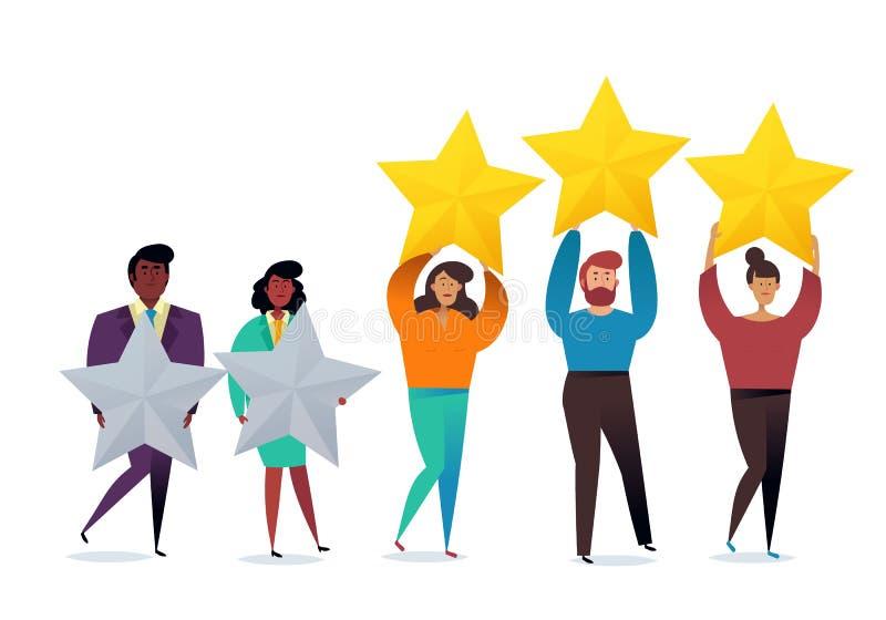 成功的工作 表现的最佳的估计,五点比分  人们留下反馈和评论 库存例证