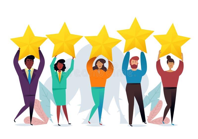 成功的工作 表现的最佳的估计,五点比分  人们留下反馈和评论 向量例证