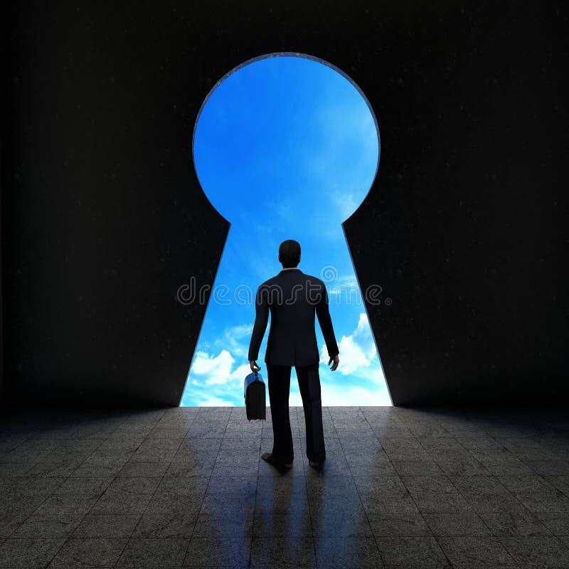 成功的概念与看通过关键孔的商人的 库存例证