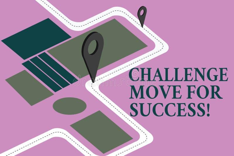成功的概念性手文字陈列挑战移动 陈列专业运动战略的企业照片 向量例证