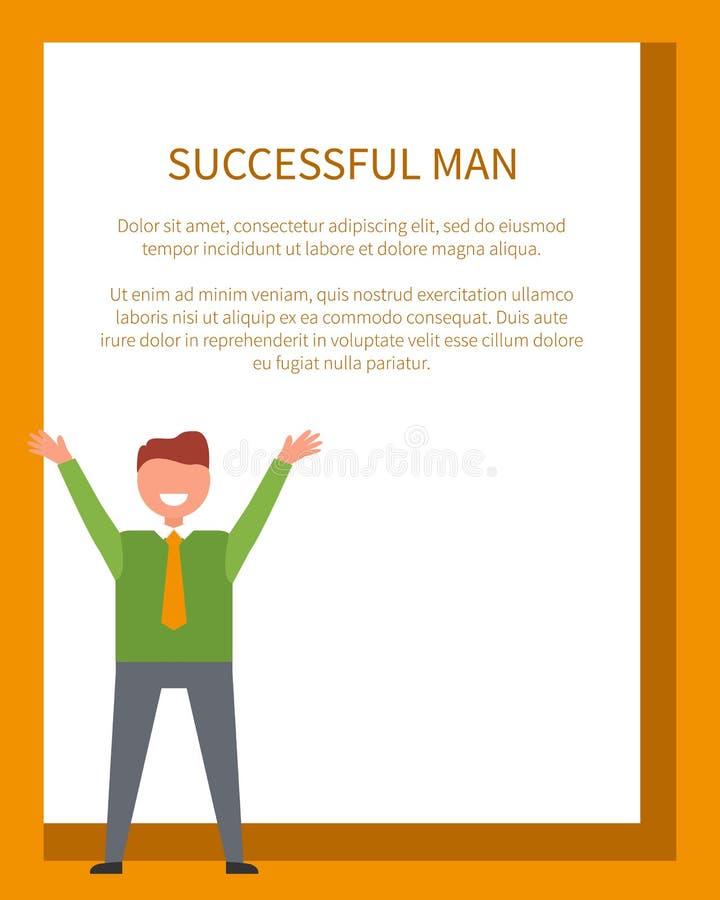 成功的正式地穿戴的人海报愉快的男性 向量例证