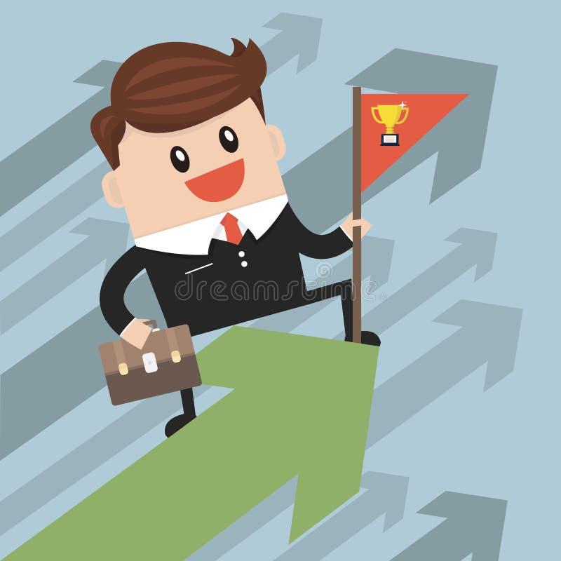 成功的生意人 站立与在生长图表的红旗的商人 库存例证