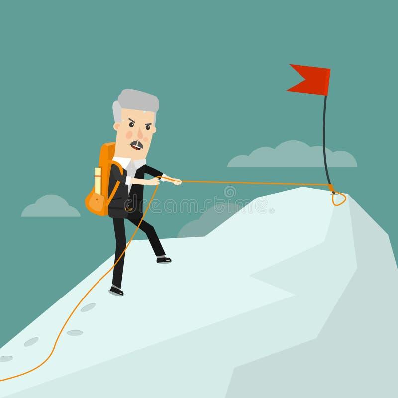 成功的老练的商人 它来到成功 企业概念动画片例证 库存例证