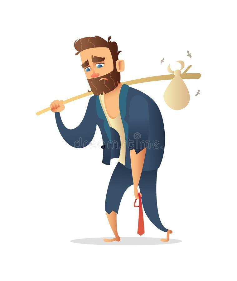 成功的胡子商人字符丢失了事务,金钱,资本,投资 一套破旧的衣服的经理 叫化子商人 向量例证