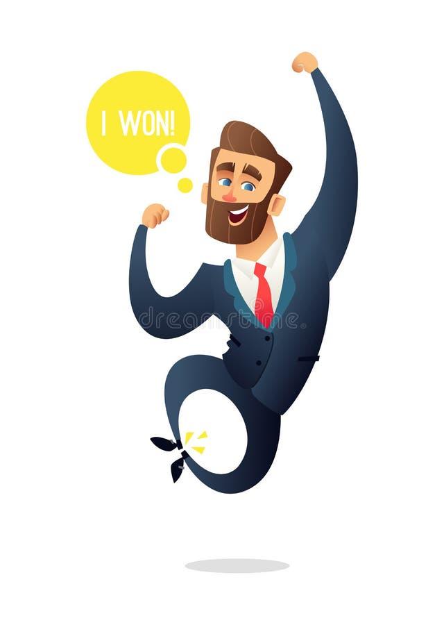 成功的胡子商人字符为喜悦跳跃 经理庆祝喝酒 企业概念例证 库存例证