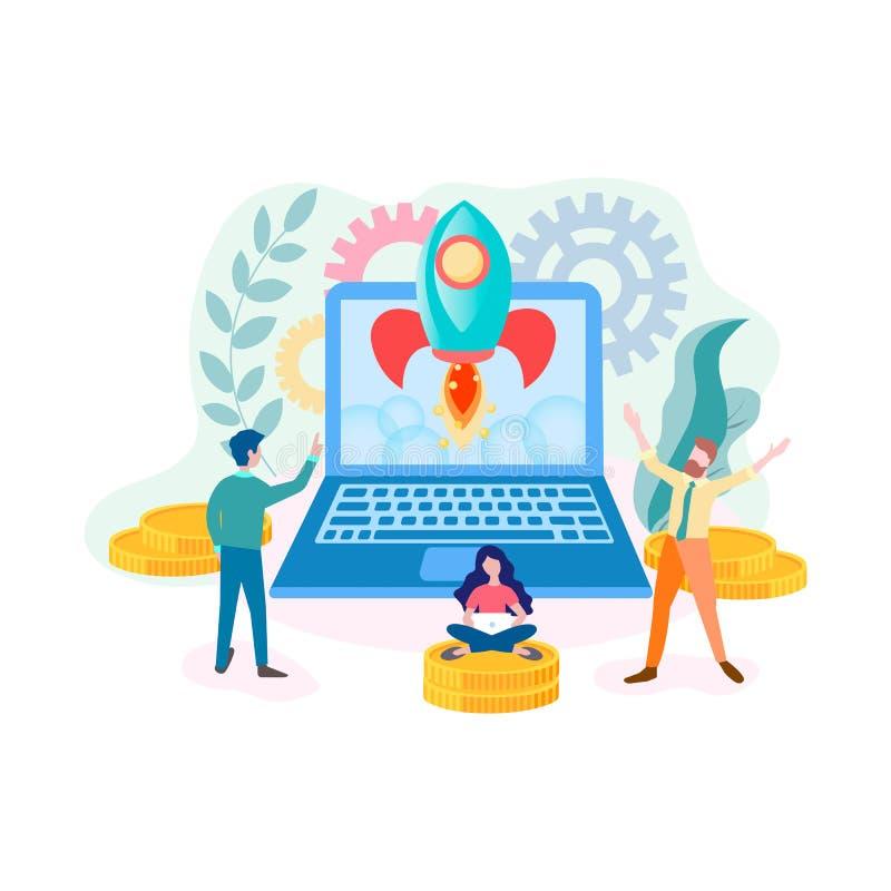 成功的起始的网上项目,配合,互联网营销 皇族释放例证