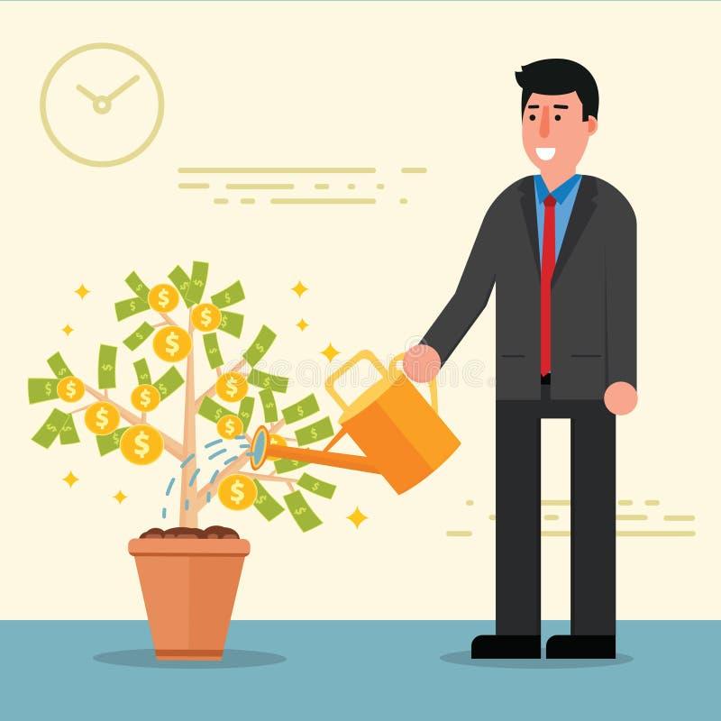 成功的年轻商人或经纪浇灌的金钱树 购物车 皇族释放例证