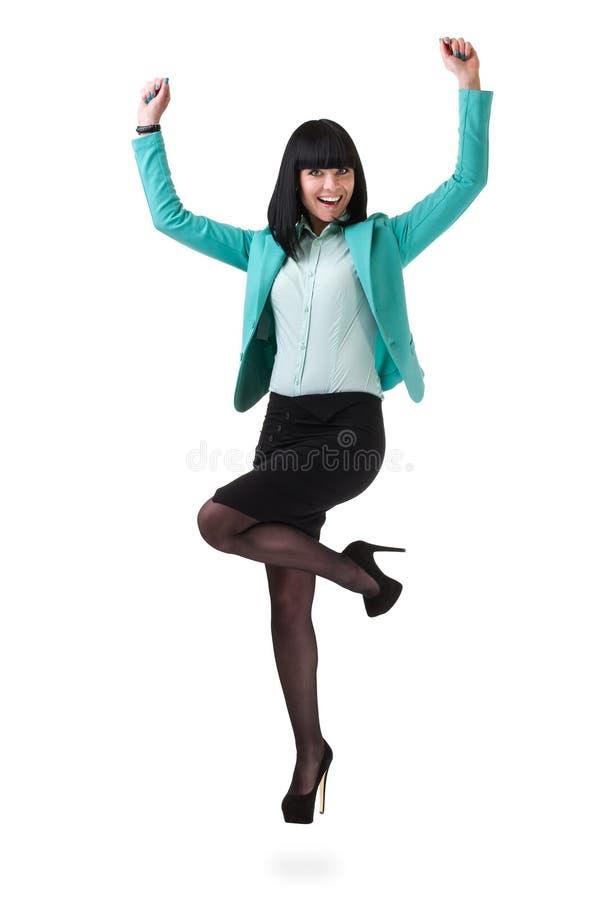 成功的年轻女商人感到高兴为她 免版税库存图片