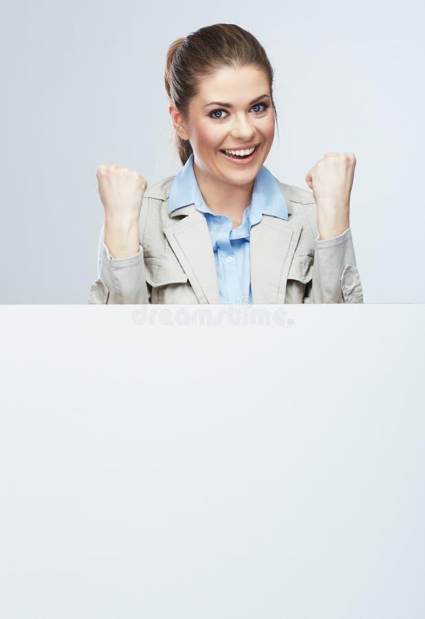 成功的年轻女商人画象空白的白色b 库存照片