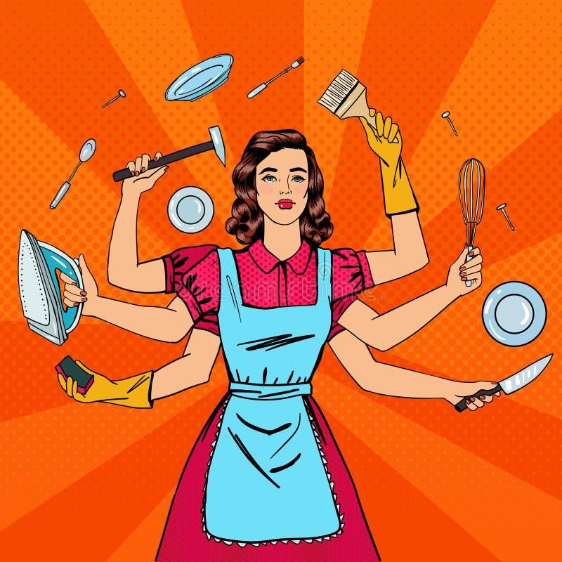 成功的主妇 多任务妇女 向量例证